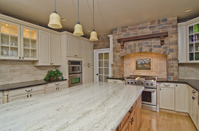 Leathered Antique Brown Granite and River Valley Granite in Vienna, VA traditional-kitchen