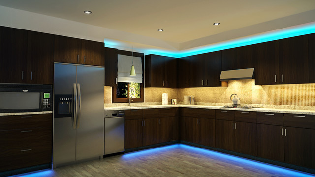 LED Kitchen Cabinet And Toe Kick Lighting Contemporary Kitchen - Bright led kitchen lights