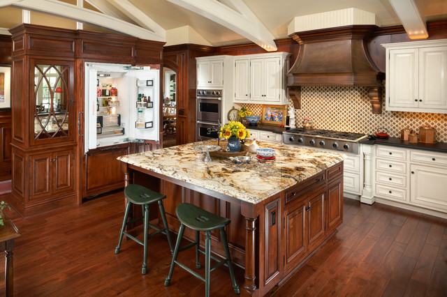 Marvelous Elegant Kitchen Photo In Phoenix With Raised Panel Cabinets, Paneled  Appliances And Granite Countertops