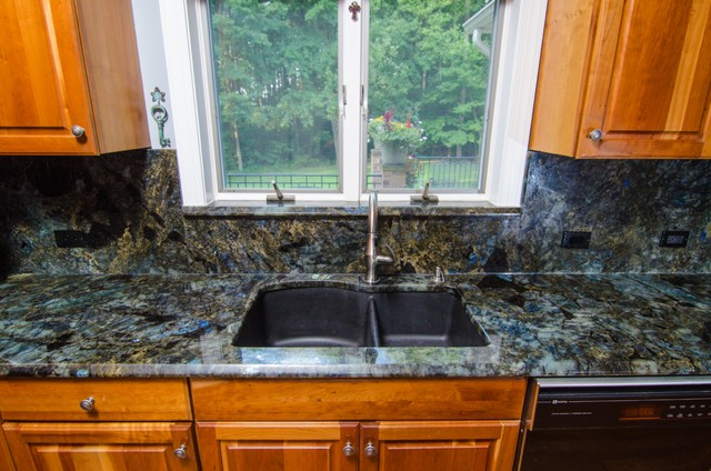 Lemurian Blue Labradorite Kitchen With Full Backsplash Traditional