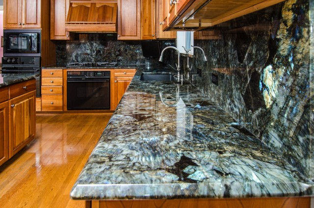 Labradorite countertops price labradorite countertops - Lemurian Blue Labradorite Kitchen With Full Backsplash
