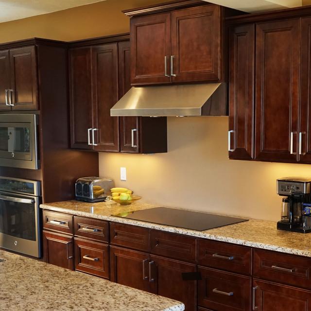 Leo Saddle Cherry Mahogany Kitchen Cabinets w/ Soft Close by ...