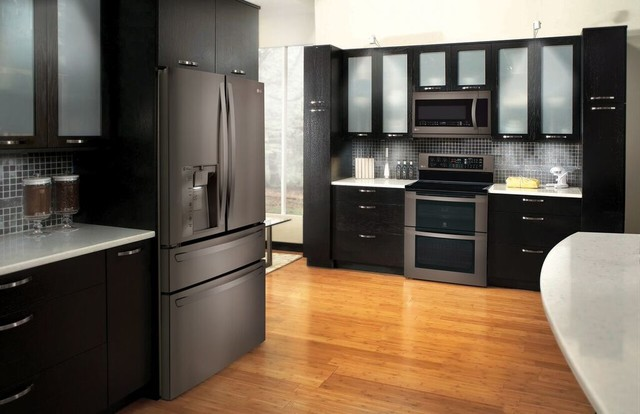 Kitchen Design Ideas With Black Stainless Applainces ~ Lg black stainless steel appliances modern kitchen