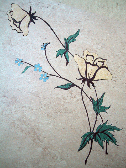 Life Size Linoleum Flowers traditional-kitchen