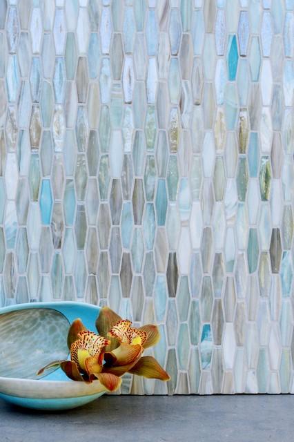 Light Blue Glass Kitchen Backsplash - Contemporary - Kitchen - New ...