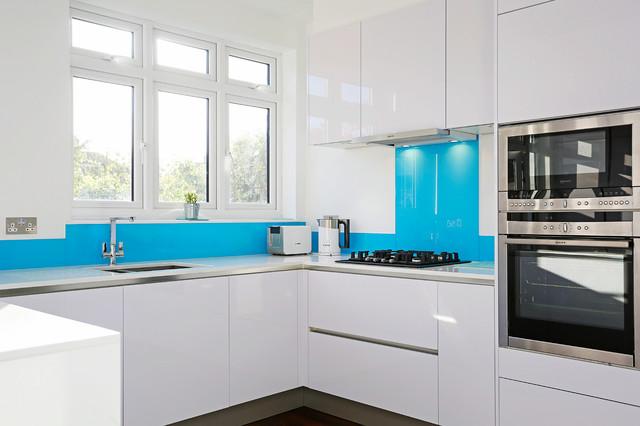 Light Blue Kitchen Splashback Contemporary Kitchen