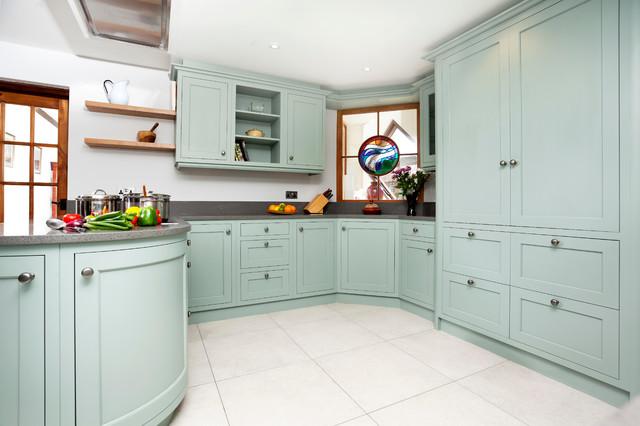 Light blue kitchen with diamond windows  Modern  Kitchen  Other