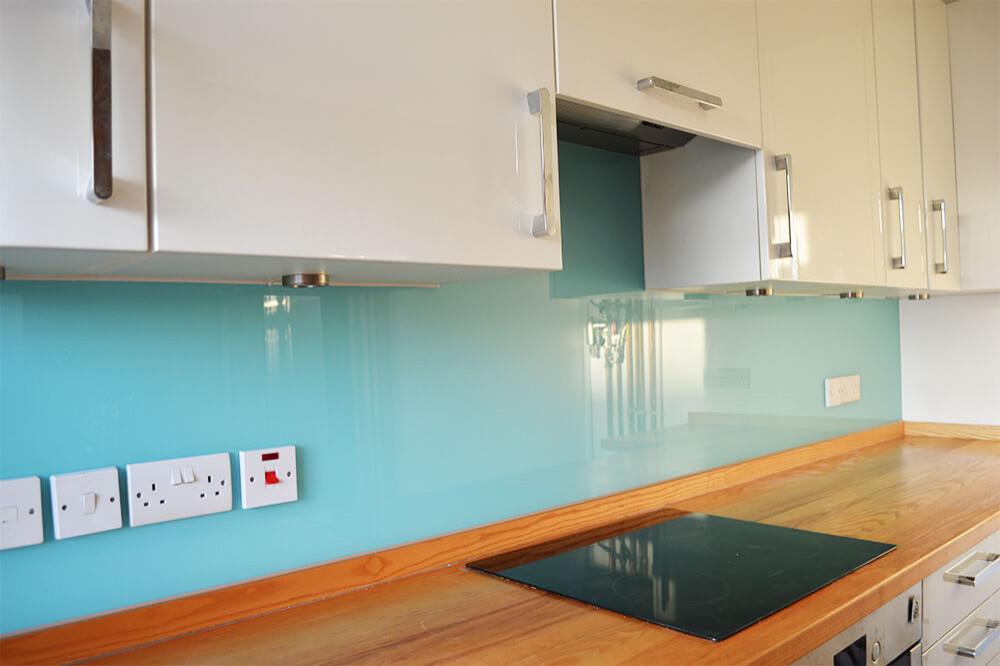 Light Blue Plain Colour Glass, Glass Splashbacks Cost