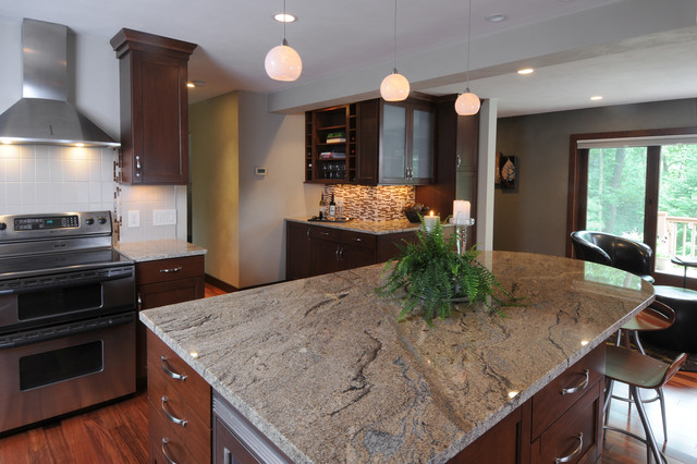 Light Brown Granite Top On Medium Stained Cabinets