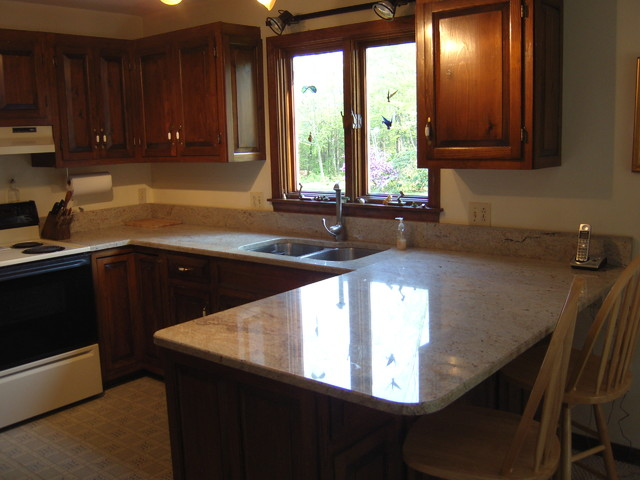 Light granite dark cabinets - Traditional - Kitchen - Boston - by ...