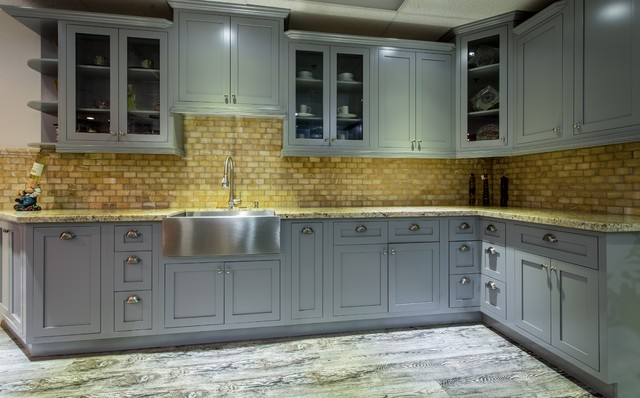Light Gray Shaker Style Inset Cabinets - Farmhouse - Kitchen - Los Angeles - by Maplevilles