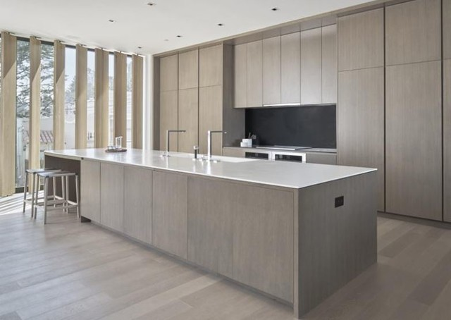Light grey stone 7 1 2 european oak modern kitchen san francisco by adm flooring design Kitchen design light grey