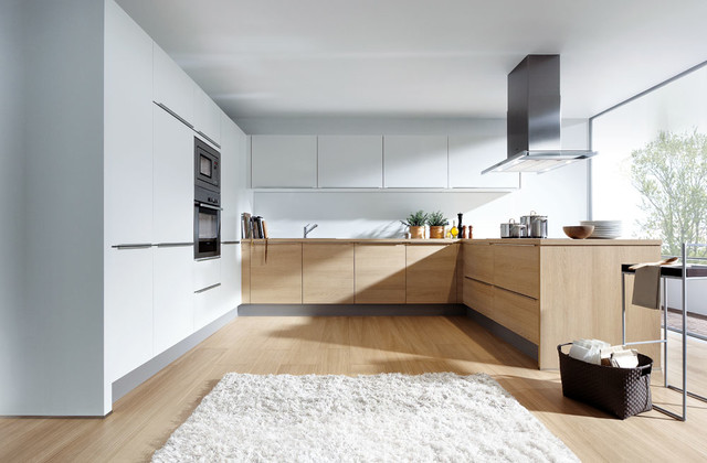 Light Oak And Matt White Modern Kitchen London By
