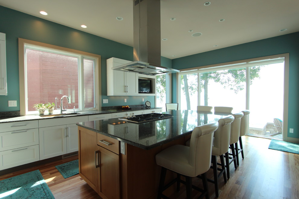 Light Stained Maple Island Cabinets with White Cabinets on ...