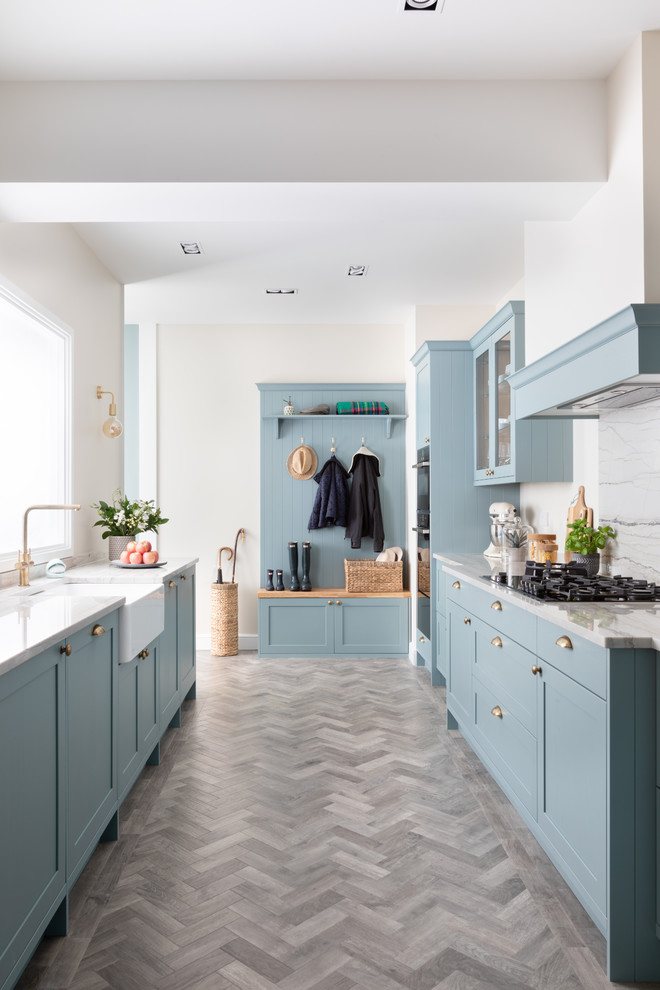 Light Teal Skinny Shaker Kitchen Farmhouse Kitchen West Midlands By Classic Interiors Houzz