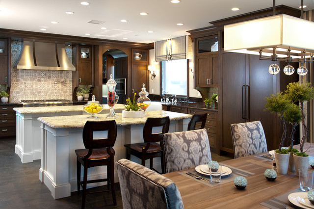Lighting a kitchen and dining room eclectic
