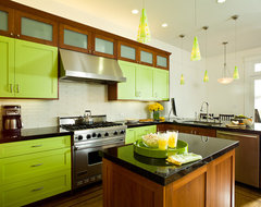 Lime Green and Clean contemporary kitchen