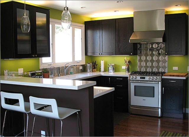 Lime green modern kitchen for Lime green kitchenware