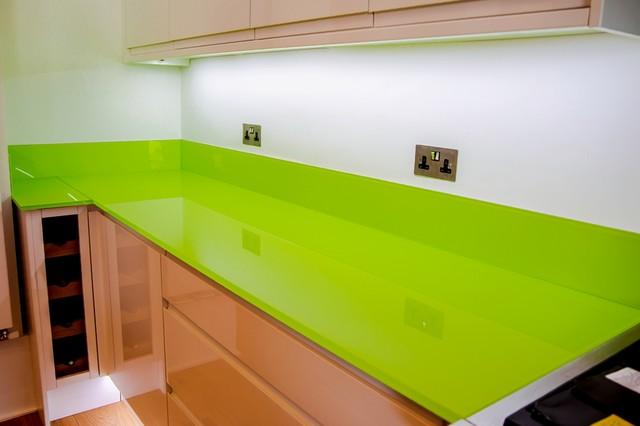 LIME GREEN  Toughened Glass Kitchen Worktop and Island modern kitchen