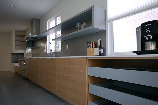 Linear cabinetry wall with c shelving above midcentury for Linear kitchen design