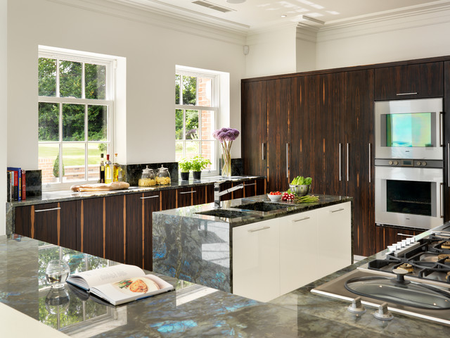 Linear | Grand, Contemporary Kitchen With Twin Islands. kitchen