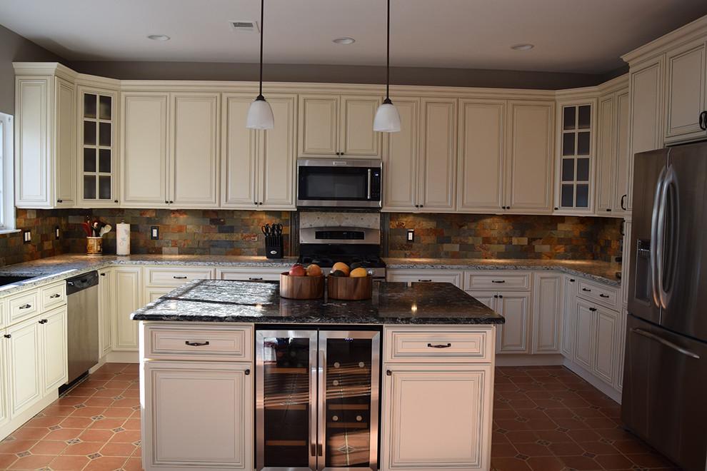 Linen Cabinets With Light Quartz Countertop And Dark Quartz Countertop Traditional Kitchen Dc Metro By Nova Design And Build