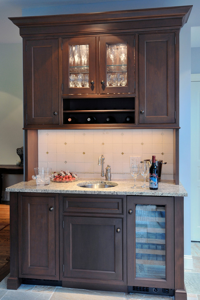 Linen Painted Kitchen with Mahogany Stained Island, Garden ...