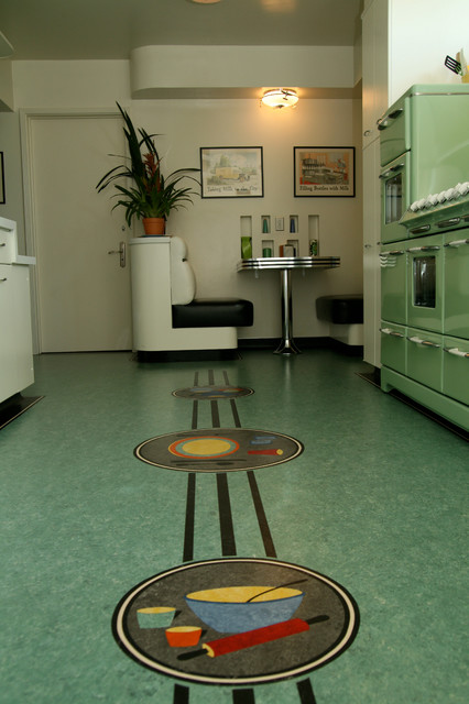 Linoleum Floor Modern Kitchen Los Angeles By