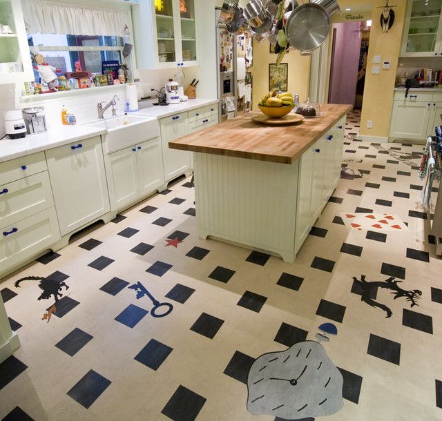 Linoleum kitchen crazy fun contemporary kitchen for Kitchen linoleum tiles