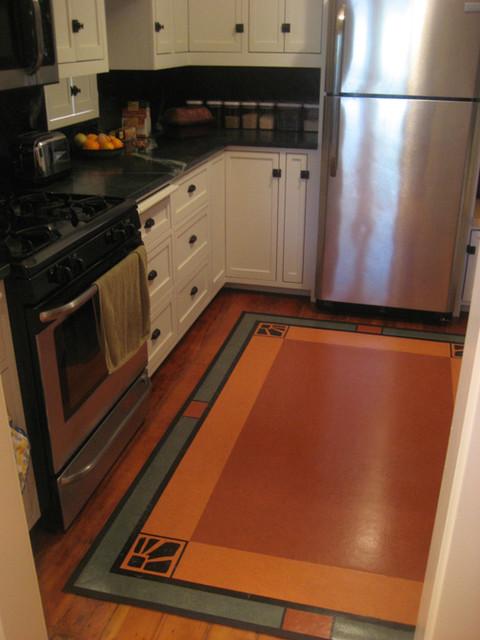 Linoleum rug in craftsman kitchen traditional kitchen for Craftsman style kitchen flooring