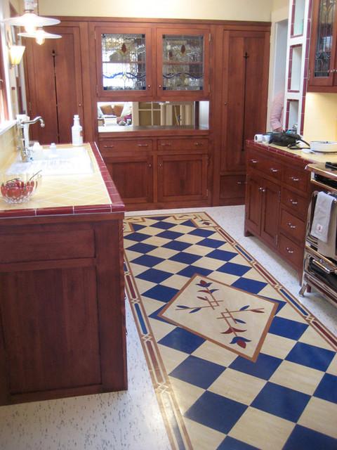 Linoleum Rug Inlay Craftsman Kitchen San Francisco