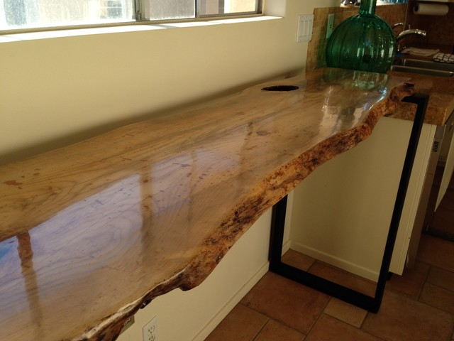 Live Edge Bar Table Contemporary Kitchen San Diego