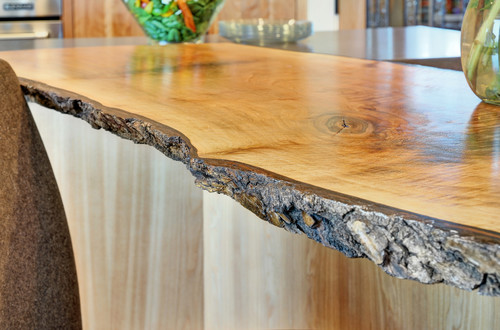 Where did you purchase this natural wood bar top does the for Live edge kitchen island