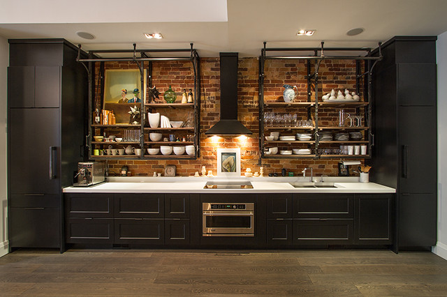 Live work loft space industrial kitchen toronto by - Armoire style industriel ...