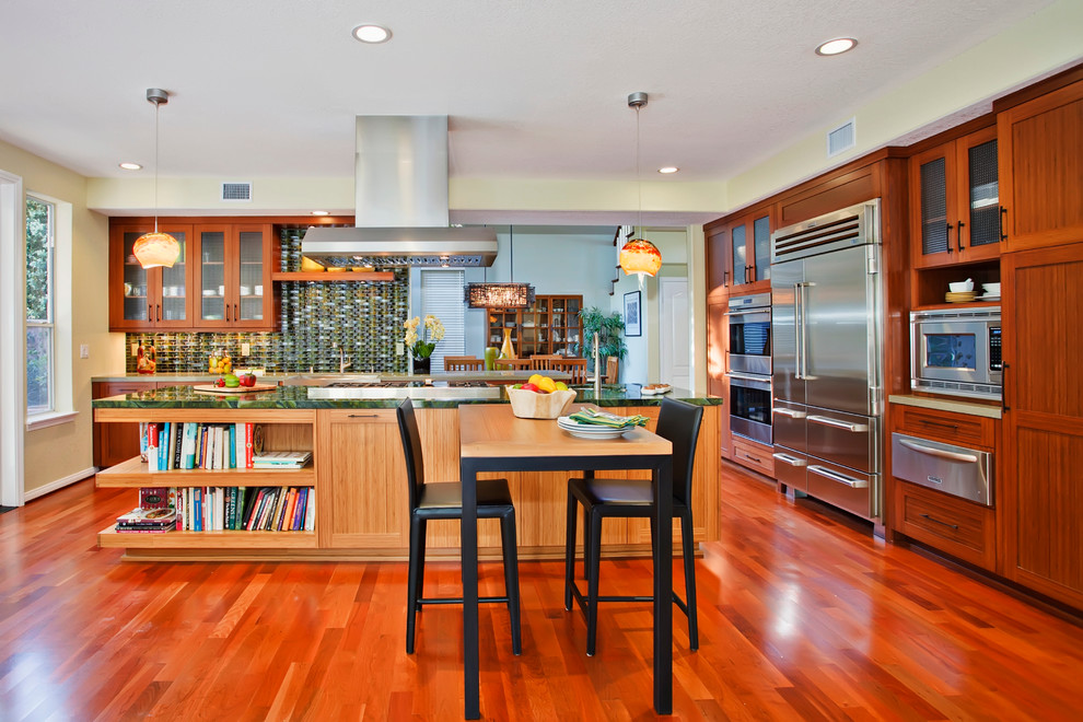 Lively Green Kitchen and Living Space   Craftsman ...