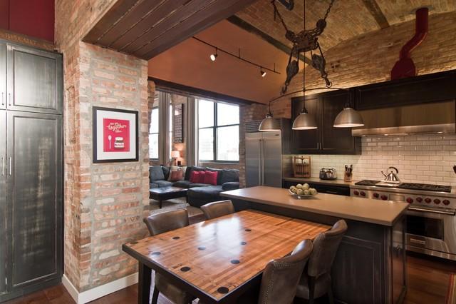 Loft Condo Renovation Industrial Kitchen Chicago By Besch Design Ltd