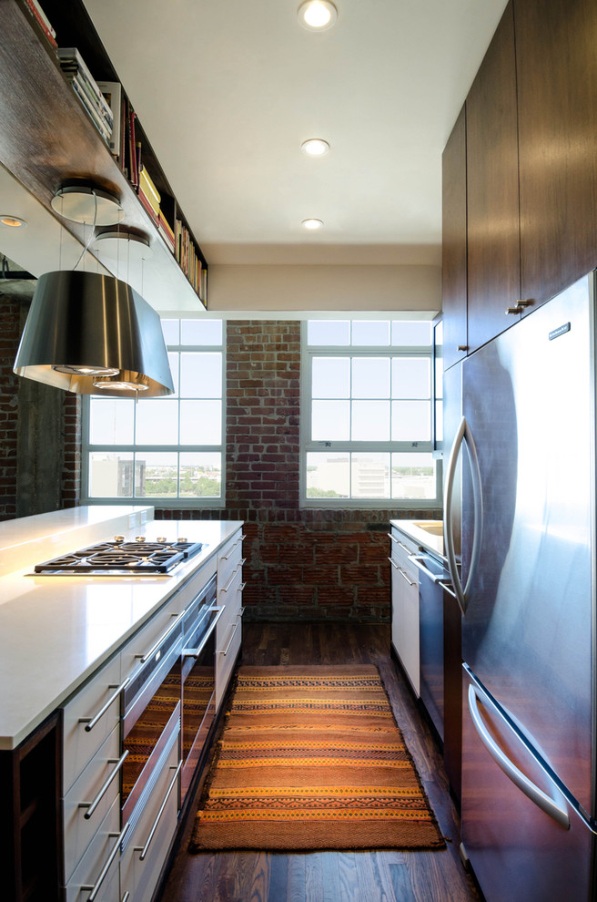 Inspiration for an industrial galley kitchen remodel in Houston