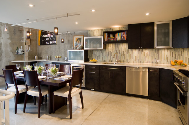 Eat-in kitchen - contemporary eat-in kitchen idea in Auckland with dark wood cabinets, multicolored backsplash and matchstick tile backsplash