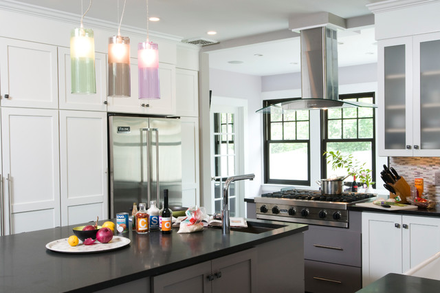 Loft style kitchen in the suburbs transitional kitchen for Kitchen design specialists colorado springs