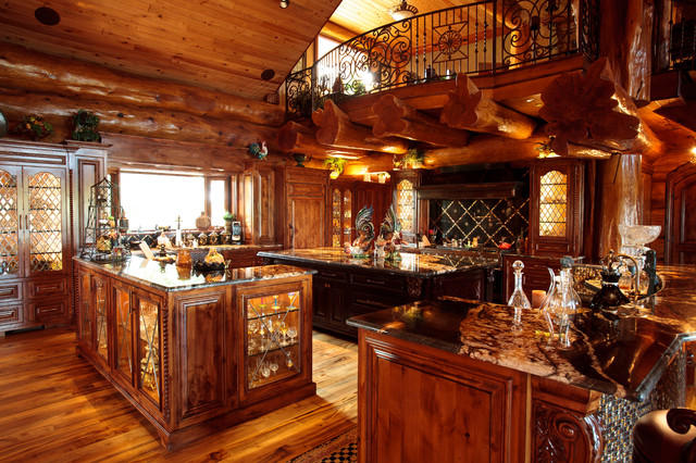 Log Cabin Awesome Traditional Kitchen Dallas By