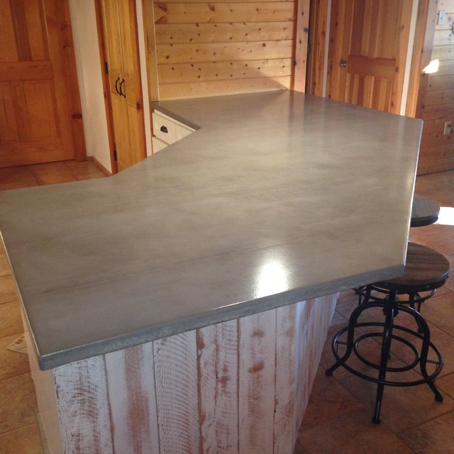 White Kitchen Cabinets With Gray Countertops: Log Cabin Grey Concrete Countertops White Cabinets