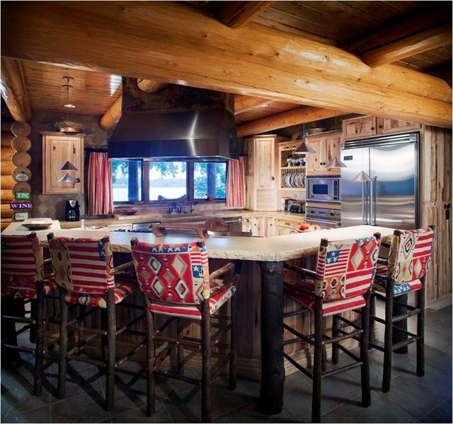 Log cabin kitchens traditional kitchen wichita by for Cabin kitchen cabinets
