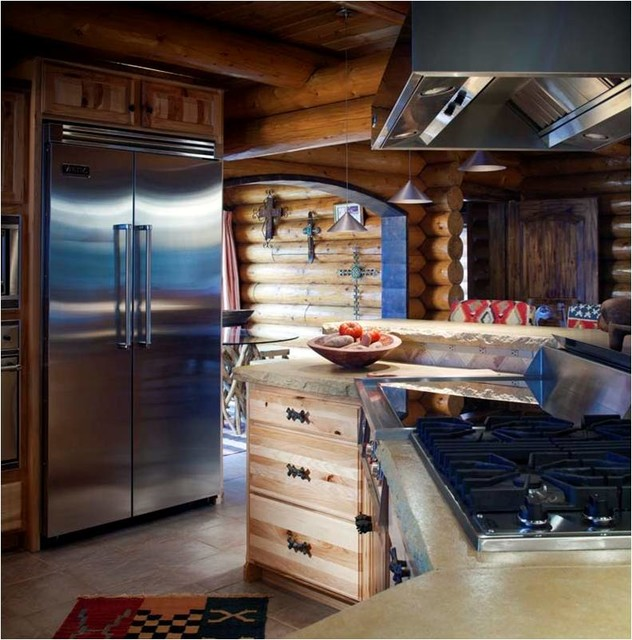 Log cabin kitchens traditional kitchen wichita by for Log cabin kitchens and baths