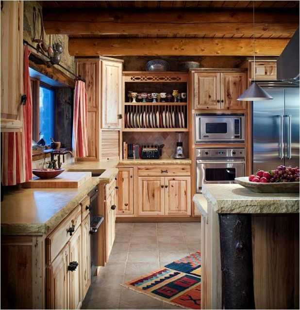 Log cabin kitchens farmhouse kitchen wichita by for Log home kitchen designs