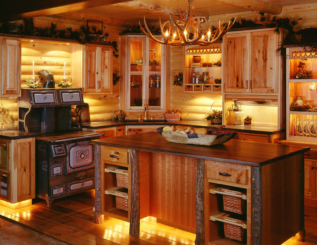 Log cabin kitchens for Small cabin kitchen designs