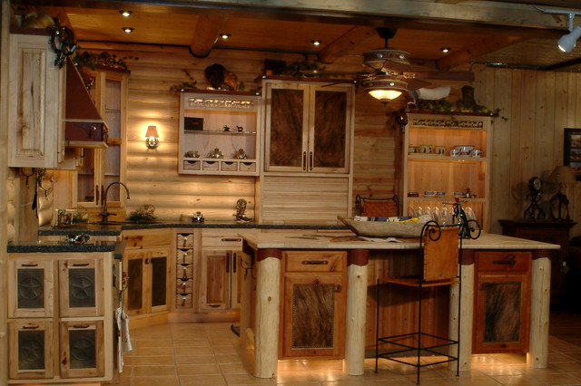 Log cabin kitchens Log home kitchen design ideas