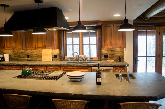 Log cabin remodel addition traditional kitchen for Log cabin additions ideas