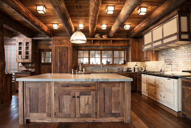 Mountain Style L Shaped Dark Wood Floor And Brown Kitchen Photo In New York