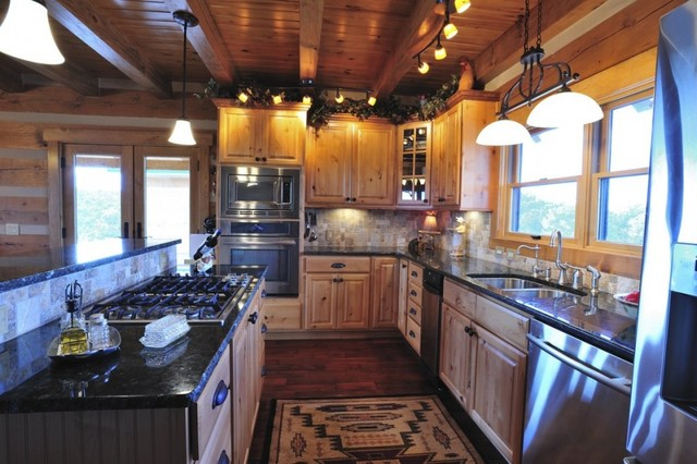 Log Home Bliss Rustic Kitchen Denver By Pioneer West Homes