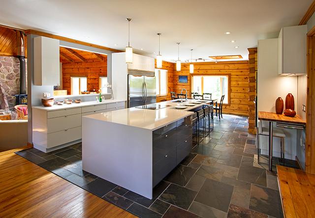 Log Home Contemporary Kitchen Reno contemporary-kitchen